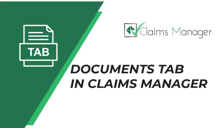 Documents tab in claims manager