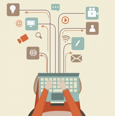 Communication and networking concept with illustration of human hand working on laptop and different social media symbols.