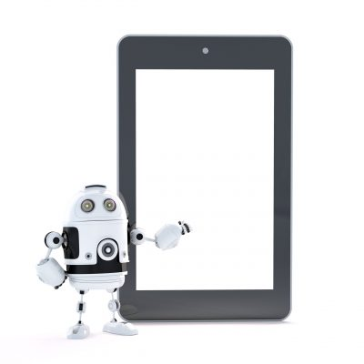 Robot with touch screen tablet pc with blanc screen. Isolated over white